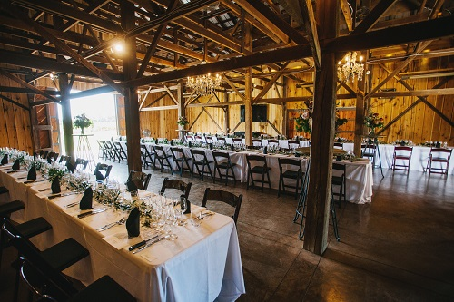 Interior view of the highly reviewed Tobacco Barn event venue at Farmer and Frenchman Winery in Henderson, KY.